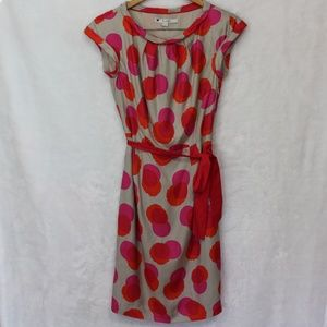 Boden Dress Short Sleeve Polka Dot Waist Tie Sz 4